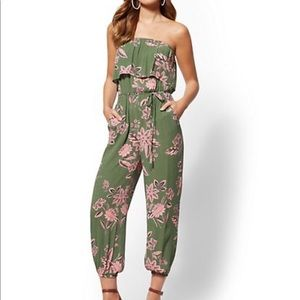 New York and Company Olive Floral Jumpsuit